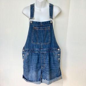 GAP Denim Shortalls Size M Blue Medium Wash Cuffs